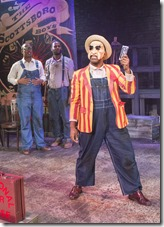 """Anna Dauzvardis, Semaj Miller, Brandon Greenhouse, Breon Arzell, Charli Williams and Kevin Patterson star in Raven Theatre's """"Direct from Deathrow: The Scottsboro Boys"""" by Mark Stein, directed by Michael Menendian."""