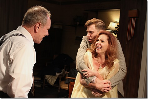 "Brian Parry, Jacqueline Grandt and Stephen Cefalu, Jr. in Redtwist Theatre's ""Who's Afraid of Virginia Woolf?"" by Edward Albee, directed by Jason Gerace.  (photo credit: Jan Ellen Graves)"