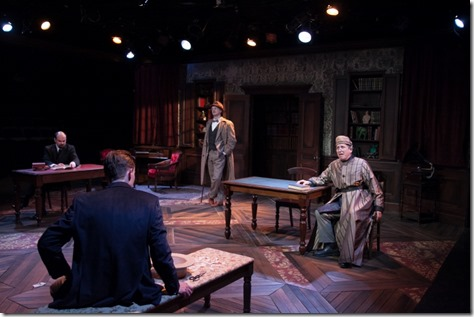 "Keith Neagle, Greg Matthew, Anderson James Houton and Jeff Cummings star in Remy Bumppo's ""Travesties"" by Tom Stoppard, directed by Nick Sandys. (photo credit: Johnny Knight)"