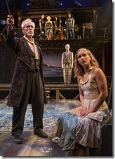 """Larry Yando and Eva Louise Balistreiri star in Chicago Shakespeare's """"The Tempest,"""" adapted and directed by Aaron Posner and Teller."""