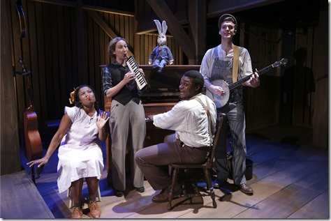 "Melanie Brezill, Jessie Fisher, Kelvin Roston, Jr. and Patrick Budde star in Chicago Children's Theatre's ""The Miraculous Journey of Edward Tulane,"" a touching tale about a toy rabbit who travels around the world for twenty years before he finds friendship, himself and his way home. (Photo credit: Charles Osgood)"