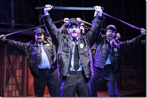 "Scott Danielson, Garrett Lutz and George Toles star in Kokandy Productions' ""The Full Monty""."