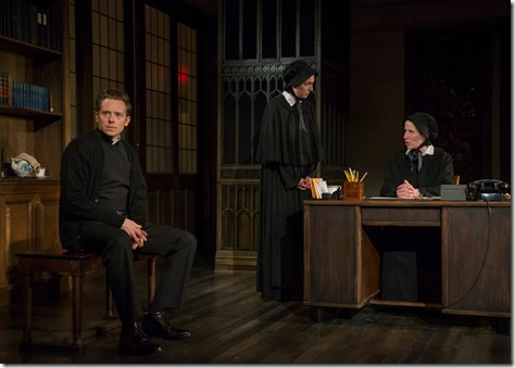 "Steve Haggard, Eliza Stoughton and Karen Janes Woditsch in Writers Theatre's ""Doubt"" by John Patrick Shanley, directed by William Brown. (photo credit: Michael Brosilow)"