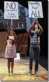 13-year-old Cameron A. Goode (left) plays Jabari, whose dreams take him back to 1963 Birmingham, Alabama to meet members of the Birmingham Children's Brigade (Leslie Ann Sheppard and Patrick Agada) in Chicago Children's Theatre's world premiere of Jabari Dreams of Freedom by Nambi E. Kelley. Performances are April 5-May 1 at the Ruth Page Center for the Arts, 1016 N. Dearborn St., Chicago. (Note: Cameron A. Goode alternates with another 13-year-old, Philip Cusic, as the title character in Jabari Dreams of Freedom.) Tickets: chicagochildrenstheatre.org or (872) 222-9555. Photo credit: Charles Osgood