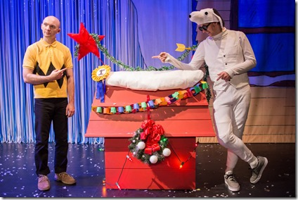 Jason Goff and Jesse Dornan star as Charlie Brown and Snoopy in Broadway Chicago