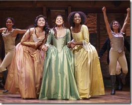 Karen Olivo, Ari Afsar and Samantha Marie Ware star as the Schuyler sisters in Hamilton, Broadway Chicago