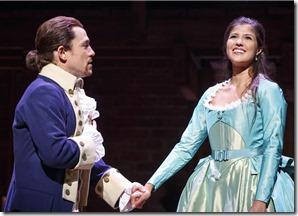 Miguel Cervantes and Ari Afsar star as Alexander and Eliza Hamilton in Hamilton, Broadway Chicago