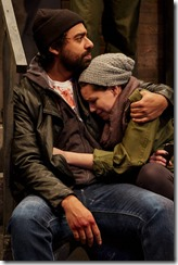 Gabriel Ruiz and Ayssette Muñoz star as Abe and Miranda in Wolf at The End of the Block, Teatro Vista