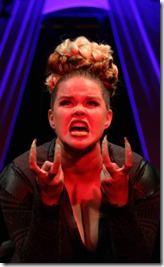Erin Daly stars as T-Rex 1 in Triassic Parq, Circle Theatre
