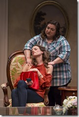Louise Lamson and Hannah Gomez star as Kimberly and Diana in Plantation, Lookingglass Theatre