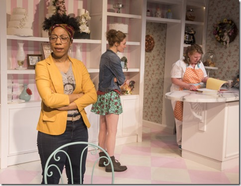 Krystel McNeil, Tuckie White and Tara Mallen star in The Cake, Rivendell Theatre