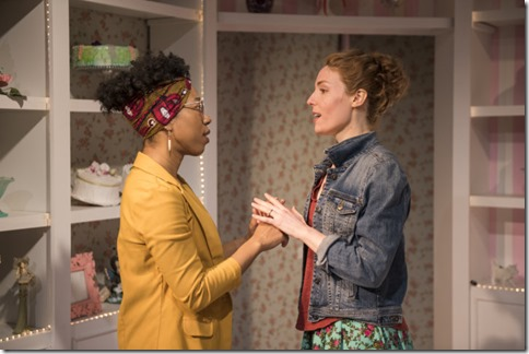 Krystel McNeil and Tuckie White star as Macy and Jen in The Cake, Rivendell Theatre Company