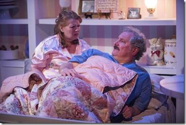 Tara Mallen and Keith Kupferer star as Della and Tim in The Cake, Rivendell Theatre