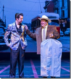 Eddie Clendening and Jerry Kernion star as Elvis and Colonel Tom Parker in Heartbreak Hotel, Broadway Chicago
