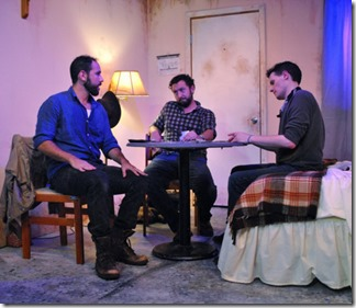Joe Lino, Guy Wicke and Cody Lucas star as David, Shep and Luke in Tres Bandidos, Agency Theater Collective