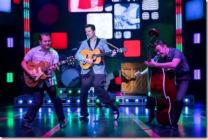 Matt Codina (Scotty Moore), Eddie Clendening (Elvis) and Zach  Lentino (Bill  Black) star in Heartbreak Hotel