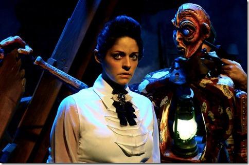 Ann Sonneville and Chris Hainsworth star as Victoria and the Creature in Frankenstein, Lifeline Theatre