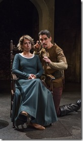 Audrey Francis and Ryan Hallahan star as Elizabeth and Scratch in Witch, Writers Theatre