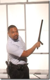 Brian Nelson Jr stars as Officer Borzoi in Hooded or Being Black for Dummies, First Floor Theatr