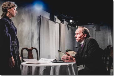 Jacqueline Grandt (Helen Alving) and James Sparling (Pastor Manders) star in Ghosts, Redtwist Theatre