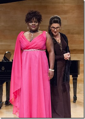 Janet Ulrich Brooks and Keirsten Hodgens star as Maria Callas and Sharon in Master Class, TimeLine Theatre