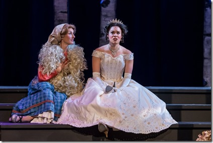 Alexis Armstrong (Bakers Wife) and Kelly Britt (Cinderella) star in Into the Woods, Music Theater Works
