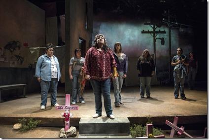 Karen Rodriguez stars as Ivonne, with the cast of La Ruta, Steppenwolf Theatre