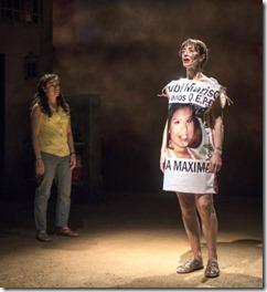 Sandra Delgado (Yoli) and Charín Alvarez (Marisela) star in La Ruta, Steppenwolf Theatre