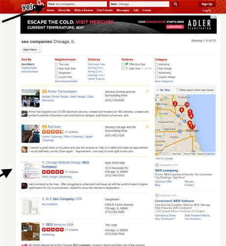 Chicago seo company on Yelp