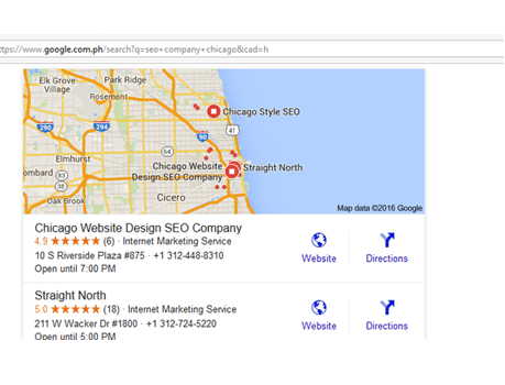 image of Chicago Website Design SEO Company in google ranking map