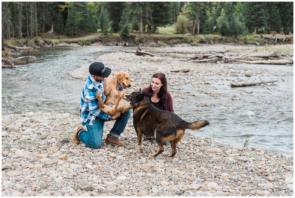 Romantic fly fishing engagment photos in the mountains.