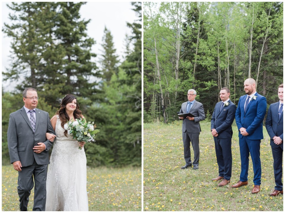 Overcast day mountain wedding in Canmore Alberta at Cornerstone Theatre