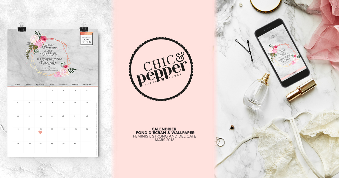 Calendrier fond écran CHIC AND PEPPER Mars 2018