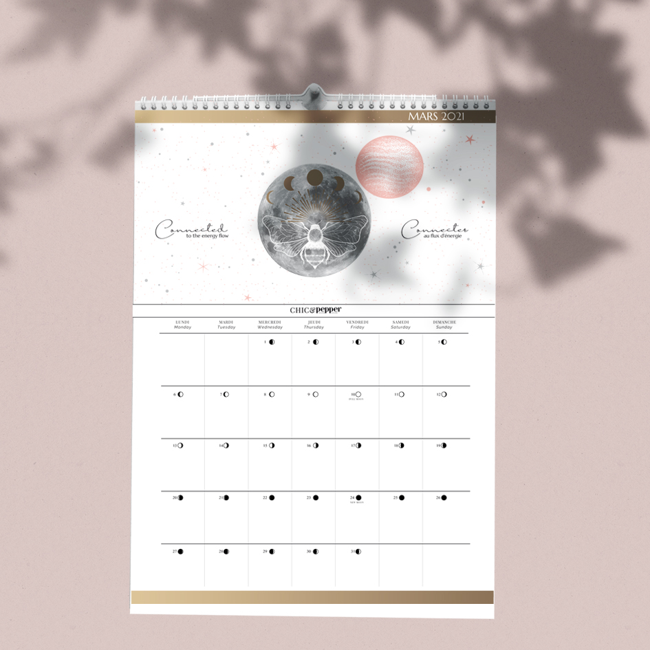 Moon Calendrier 2021 grand Format A3   Chic and Pepper