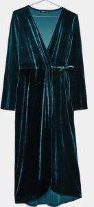 robe en velours bleu pétrole bershka