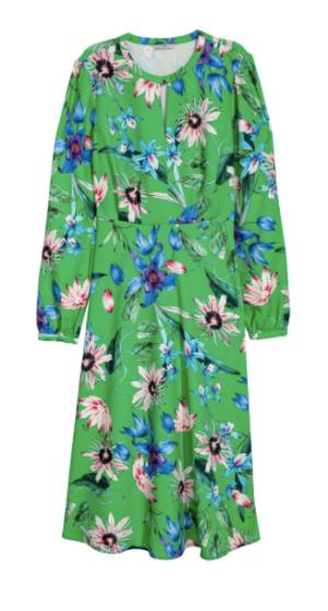 Robe verte à fleurs H&M