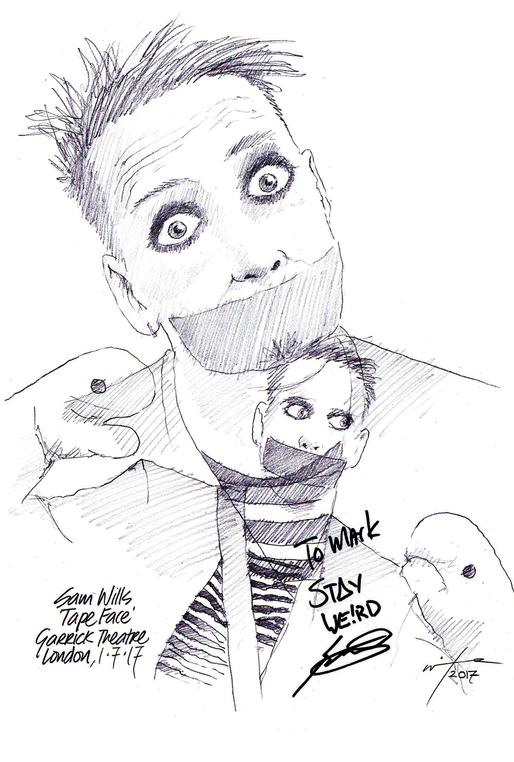 Drawing Sam Wills As Tape Face ChicanePictures