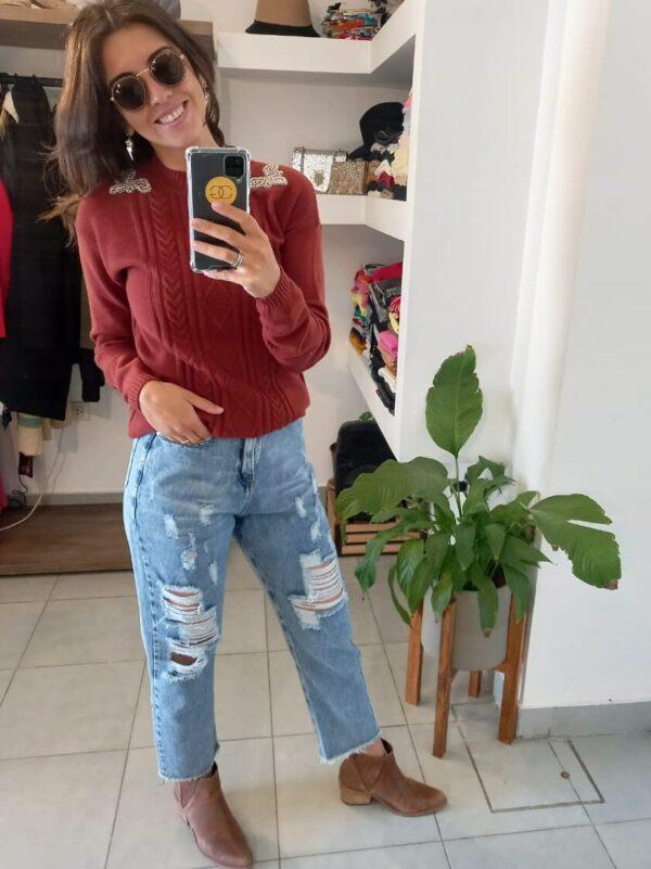 Sweater con Detalle Charreteras