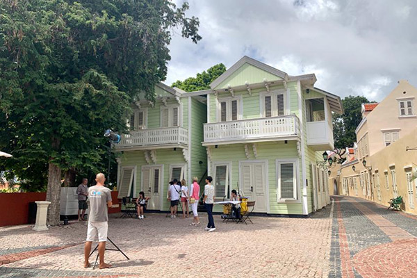 Chicas Productions on set in the City center of Curacao