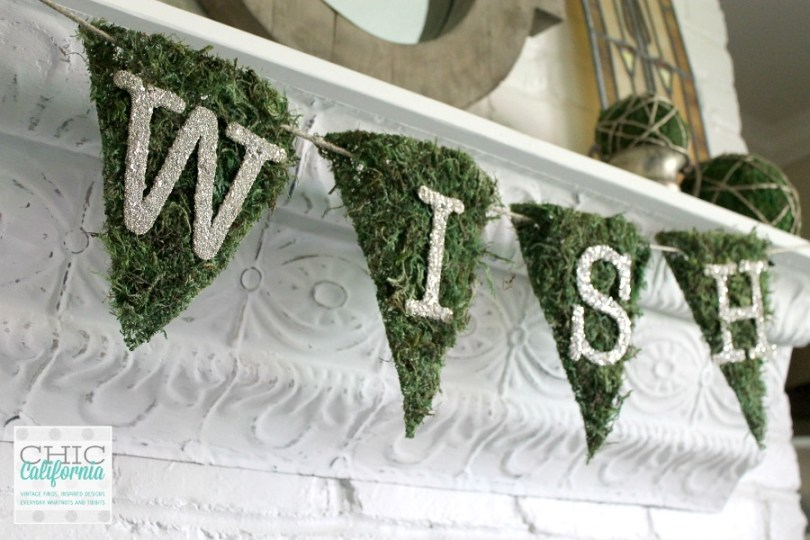 How to Make a Wish Banner using glass glitter and moss