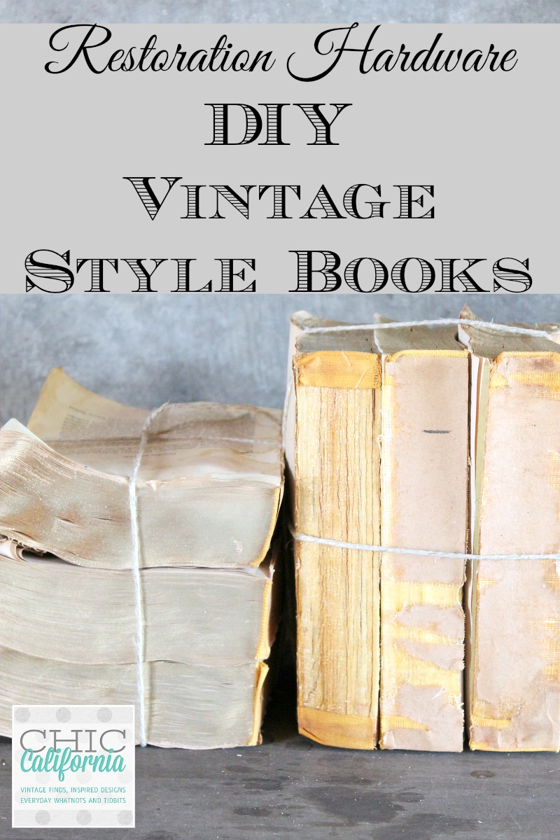 Diy Vintage Book Cover ~ Restoration hardware diy vintage style books chic california