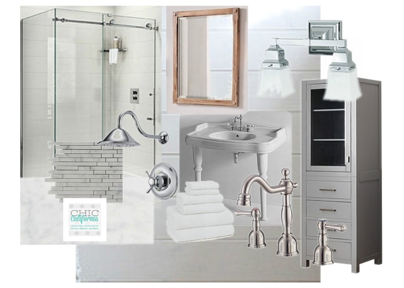 vintage modern bathroom mood board