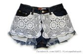Crochet Doily Highwaist Cut-off Shorts from AntiApparel-Etsy