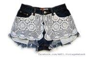 Crochet Doily Highwaist Cut-off Shorts from AntiApparel-Etsy