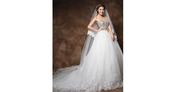 Ball Gown Cathedral Train Wedding Dress
