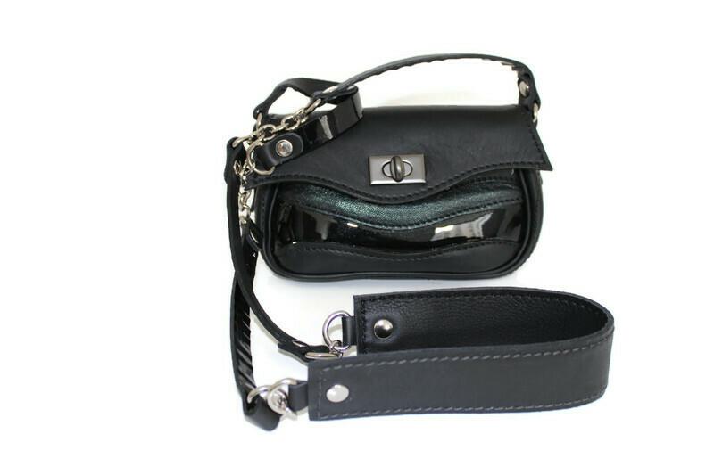 Mini sac cuir Ondulations noir