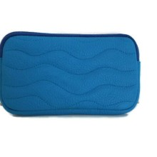 Pochette cuir bleu turquoise