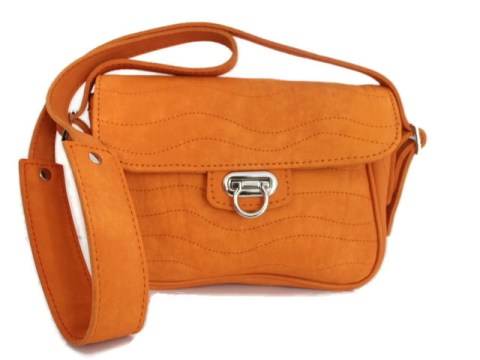 Sac cuir ondulation citadin orange abricot