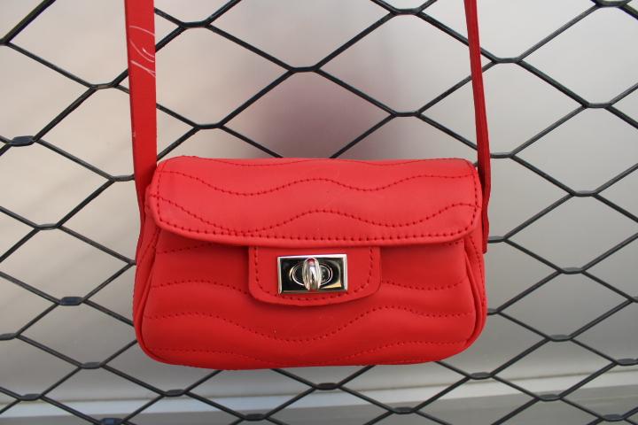 Petit sac cuir Ondulations rouge