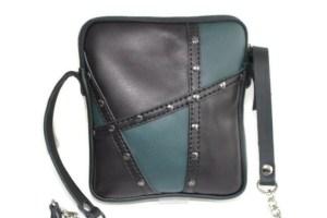 Pochette cuir Artis vert noir cloutée